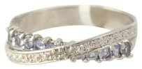 Other Tanzanite Bypass Ring - 925 Sterling Silver Womens Diamond Accents