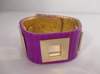 Other Ted Rossi Purple Textured Leather Faux Lizardgold Cut Out Cuff Bracelet 210