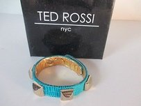 Other Ted Rossi Turq Textured Leather Faux Lizard Pyramid Stud Cuff