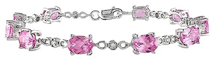 Other Sterling Silver Pink Sapphire Accent Diamond Tennis Bracelet 12.82 Ct H-i I3 7