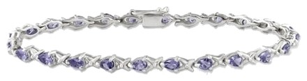 Other Sterling Silver Purple Tanzanite Tennis Style Bracelet 7 4.32 Ct Tgw
