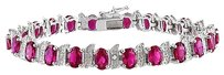 Other Sterling Silver Created Ruby And Diamond Tennis Bracelet
