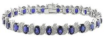 Sterling Silver Sapphire And Accent Diamond Tennis Bracelet 13.23 Ct G-h I3 7