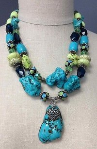 Theodoras Designs Turquoise Stones Beaded Convertible Statement Necklace B2753