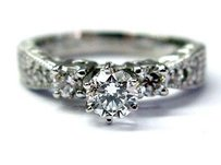 Fine Round Cut Diamond Antique Inspired Milgrain Engagement Ring 3-stone .83ct