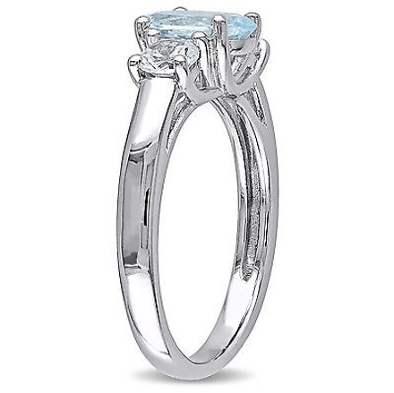 Other 1 58 Ct Tgw Aquamarine White Sapphire 3-stone Fashion Ring In Sterling Silver