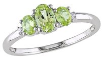 Other 10k White Gold Diamond And 45 Ct Tgw Peridot Three Stone Fashion Ring Gh I2i3