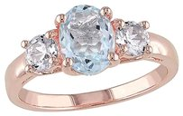Other 1 58 Ct Tgw Aquamarine White Sapphire 3-stone Fashion Ring Pink Silver