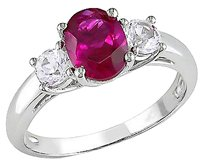 2 58 Ct Tgw Ruby White Sapphire 3-stone Fashion Ring In Sterling Silver