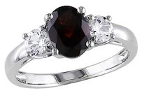 Other 2 Ct Tgw Garnet White Sapphire 3-stone Fashion Ring In Sterling Silver
