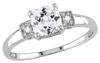 Other Sterling Silver Diamond And 1 14 Ct Tgw White Sapphire 3-stone Fashion Ring I3