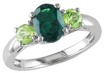 2.06 Ct Tgw Green Garnet Peridot 3-stone Fashion Ring In Sterling Silver