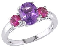 1 38 Ct Tgw Amethyst Pink Tourmaline 3-stone Fashion Ring In Sterling Silver
