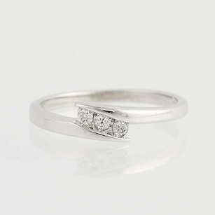 Three-stone Diamond Bypass Ring - 10k White Gold Womens .10ctw