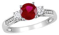 10k White Gold Diamond And 1 13 Ct Ruby White Sapphire 3 Stone Ring Gh I2i3