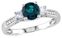 Other 10k White Gold Diamond And 1 18 Ct Emerald White Sapphire 3 Stone Ring Gh I2i3