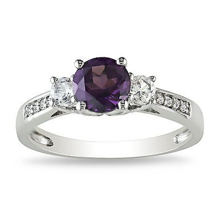 Other 10k White Gold Diamond And 1 13 Ct Alexandrite White Sapphire 3 Stone Ring