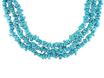 Other 3 Strand Turquoise Chips Necklace Wsterling Silver Bayonet Clasp