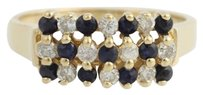 Tiered Diamond Sapphire Cocktail Ring - 14k Yellow Gold 14 Genuine .43ctw