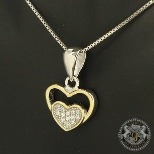 Tone Heart 14k White Gold On Silver Lab Diamond Earring Necklace Pendant Set