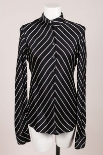 Armani Black White Silk Top