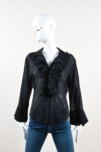 Other Peter Soronen Long Bell Sleeve Ruffle Top Black