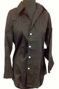 Other Our Fine Garments Cotton Ruffle 34 Sleeve Button Front L827 Top Black