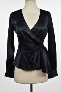 Other Sandra Angelozzi Womens Silk Metallic Long Sleeve Shirt Top Black