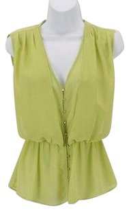Mind Code Sheer Lime Button Top Green