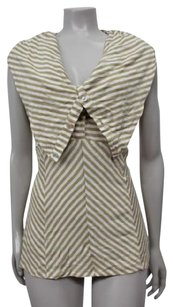 Other Pilcro Anthropologie Striped Button Up Cowl Neck Top white tan