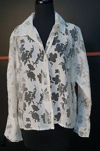 Other Lunaluz Off Cottonpoly Sheer Print On Print Shirt Top Whites