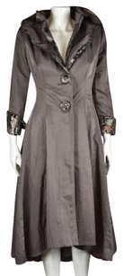 Other Saint Gil Womens Metallic Trench Coat 34 Sleeve Casual Pewter Jacket