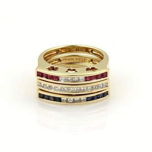 Triple Stack 14k Yellow Gold Band Ring With 1.00ct Diamonds Gems