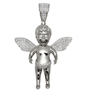 Unisex 10k White Gold Flying Baby Angel Genuine Diamond Pendant Charm .35ct 1.9