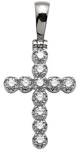 Unisex 10k White Gold One Row Cross Genuine Diamond Pendant Charm 1.25ct 1.25