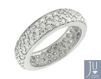 Other Unisex 10k White Gold Paved Iced Out Real Diamond Eternity Wedding Band 3.72ct