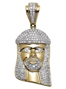 Unisex 10k Yellow Gold Mini 3d Jesus Face Genuine Diamond Pendant Charm 0.65ct