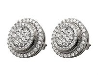 Other Unisex 14k White Gold Pave Set Genuine Round Diamond Stud Earrings 1.75ct 14mm