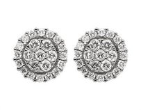 Unisex 14k White Gold Round Genuine Diamond Cluster Stud Earrings 0.65ct 8mm