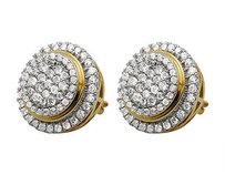 Unisex 14k Yellow Gold Pave Set Genuine Round Diamond Stud Earrings 1.75ct 14mm