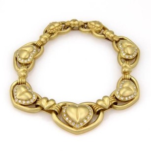 Other Vahe Naltchayan 18k Yellow Gold Diamond Heart Link Bracelet