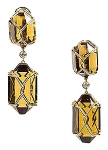 Verdura 18k Yellow Gold Smoky Quartz Diamond Herkimer Clip On Drop Earrings