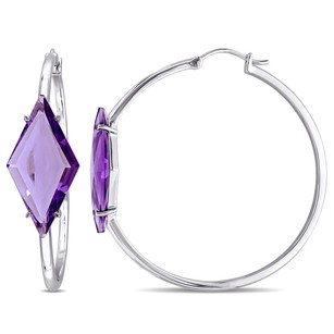Other Versace 19.69 Abbigliamento Sportivo Silver Amethyst Hoop Earrings