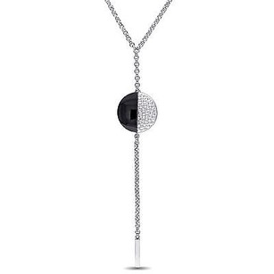 Versace 19.69 Abbigliamento Sportivo Silver With Black Moonlight Drop Necklace