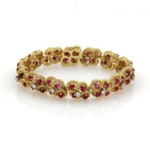 Other Vintage 10ct Cabochon Ruby Diamond 18k Yellow Gold Fancy Floral Bracelet