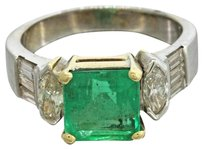Vintage 14k White Gold 3.77ctw Natural Emerald Diamond Engagement Ring