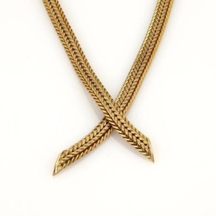 Vintage 14k Yellow Gold Basket Weave Design Crossover Necklace