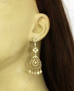 Vintage 18k Yellow Gold 2.50ctw Diamonds Ladies Chandelier Earrings