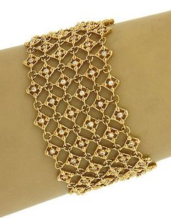 Vintage 18k Yellow Gold 2ctw Diamond Fancy Open Design Wide Bracelet