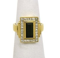 Vintage 18k Yellow Gold 3.75ctw Diamond Tourmaline Ladies Cocktail Ring